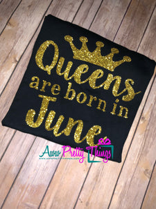 Queens Are Born In June It's A Queen Birthday T-Shirt Custom Birthday Shirt Personalized Birthday Date Queen Birthday Shirt Birthday Shirt