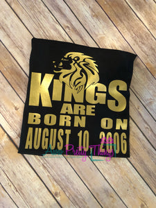 Kings Are Born On Birthday T-Shirt Custom Birthday Shirt Personalized Birthday King Queen Birthday Shirt Birthday Shirt Male Masculine