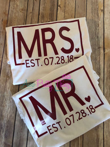 Mr and Mrs Couple Shirts With Est Dates Couple Shirts Newly Wed Shirts Valentines Day Theme Shirts Matching Shirts Wedding Gifts