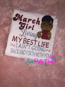 Birthday Month Girl Living My Best Life Birthday Shirt Not Going Back and Forth With You Birthday Queen