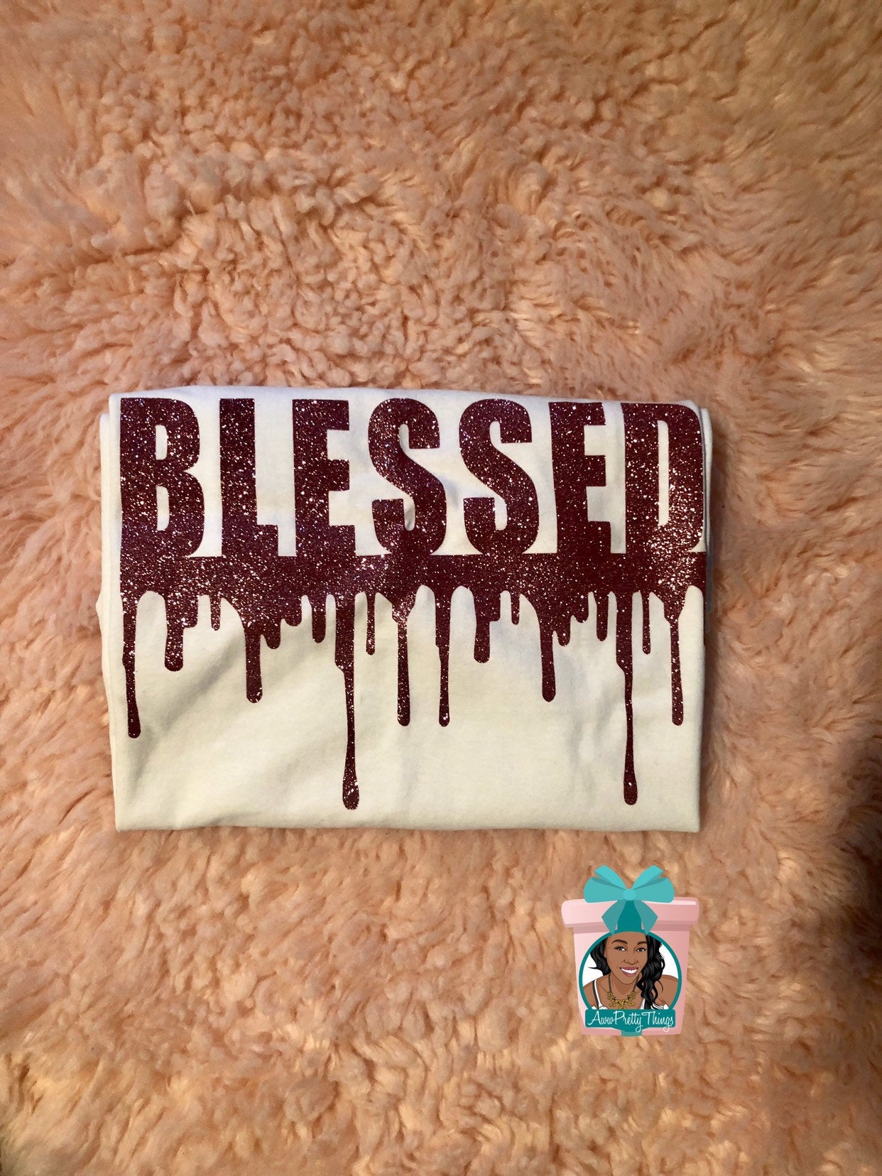 Blessed Drip Melanin Drip Blessed Rose Gold T-Shirt Blessed Religious T-Shirt