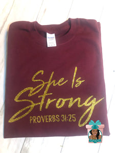 She Is Strong Proverbs 31 Clothed With Strength & Dignity Shirt Religious Shirt Inspirational Shirt