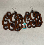 Load image into Gallery viewer, 3 Initial Monogram Wooden Earrings