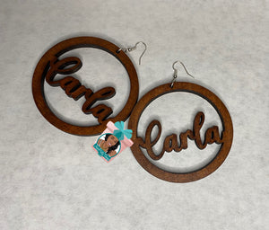Name Wooden Earrings