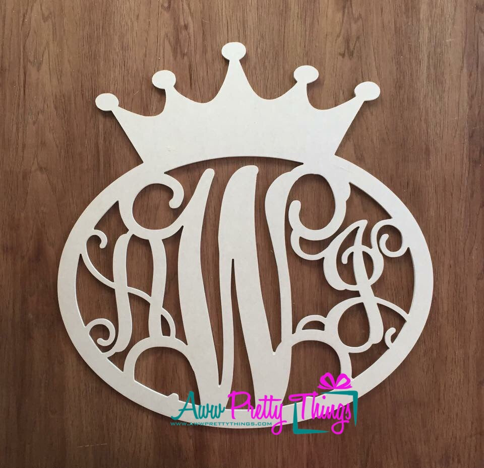 Oval Vine Monogram with Crown