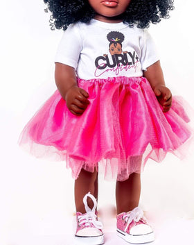 Curly & Confident Doll Clothing Set ONLY: Tshirt, Tutu & Chucks: PREORDER, SHIPS 11/27