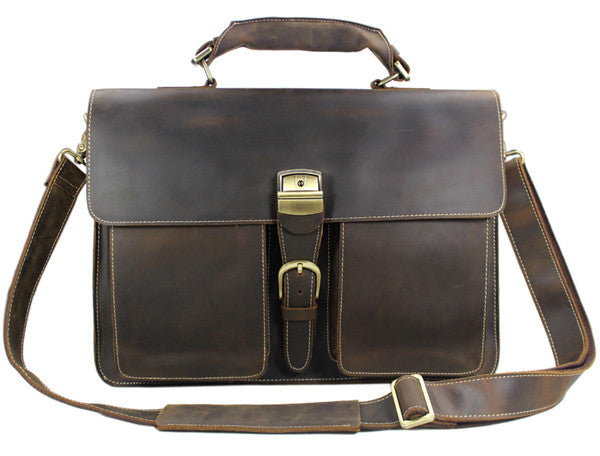 Vintage Portfolio Leather Briefcase - Mustache Trading