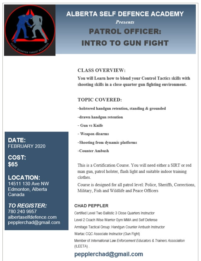 2020/02/01 PM - Patrol Officer: Intro to Gun Fight - Edmonton, Alberta Canada