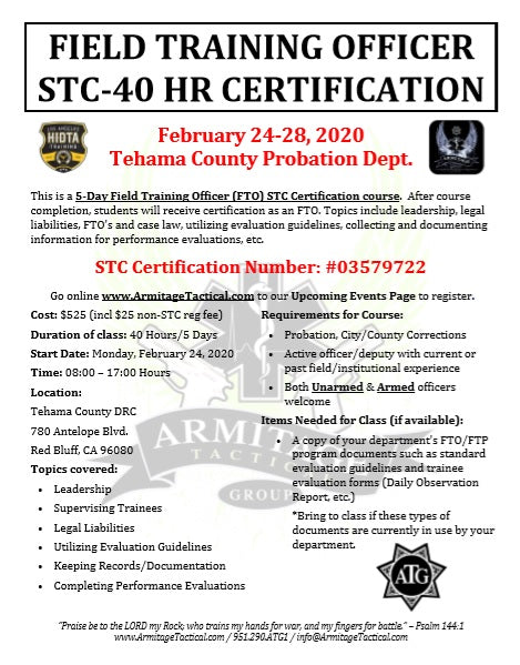 2020/02/24 - Field Training Officer (FTO) STC Certification Course - Red Bluff, CA