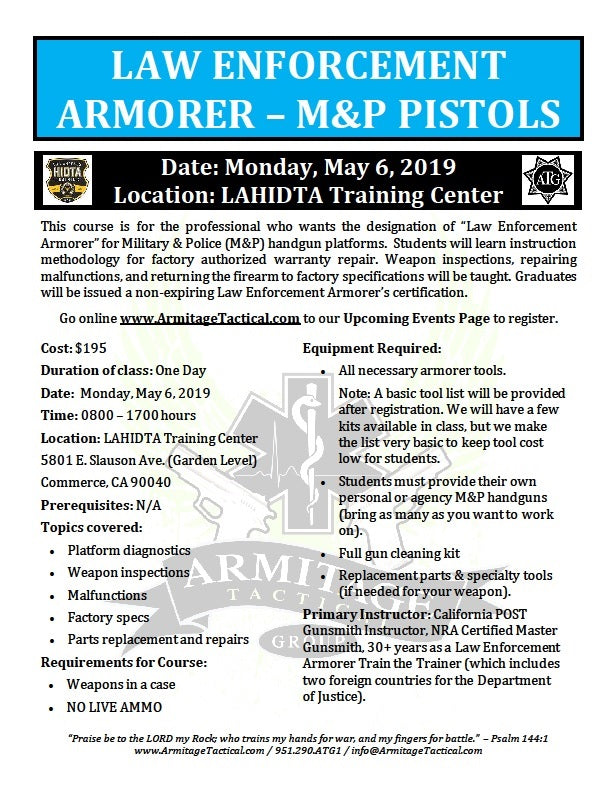 2019/05/06 - Law Enforcement Armorer's Course (M&P Pistols) - Los Angeles, CA