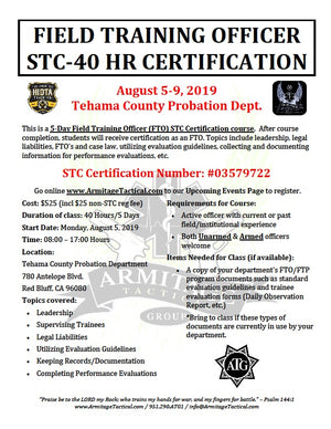 2019/08/05 - Field Training Officer (FTO) STC Certification Course - Red Bluff, CA