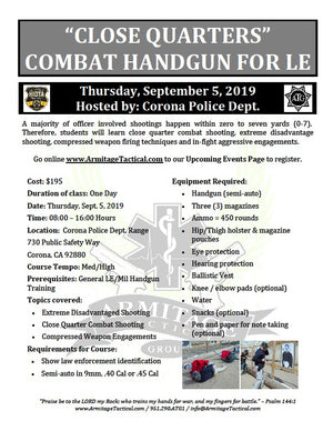 "2019/09/05 - ""Close Quarters"" Combat Handgun for LE - Corona, CA"