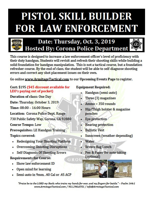 2019/10/03 - Pistol Skill Builder for Law Enforcement - Corona, CA