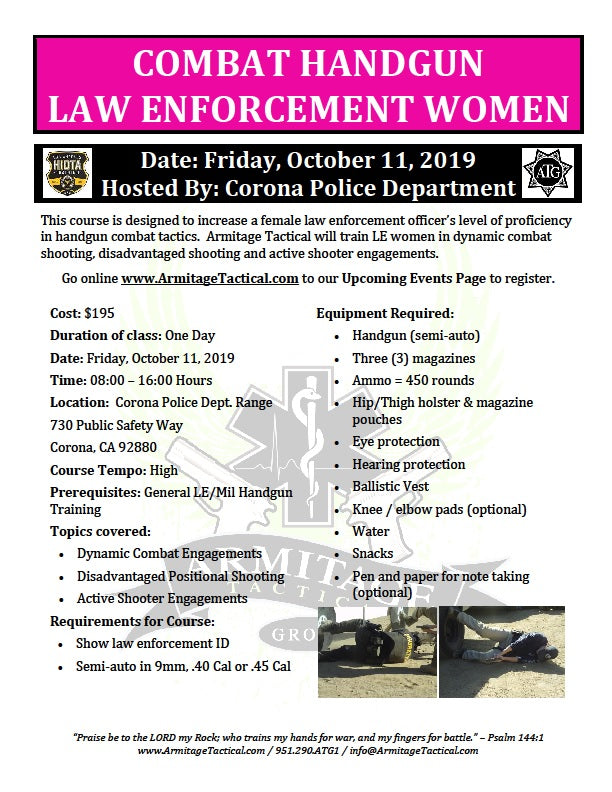 2019/10/11 - Combat Handgun for LE Women - Corona, CA