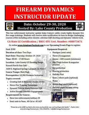 2020/10/29 - Firearm Dynamics Instructor Update for LE/Mil (2-Day) - Lakeport, CA