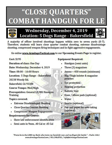 "2019/12/04 - ""Close Quarters"" Combat Handgun for LE/Mil - Bakersfield, CA"