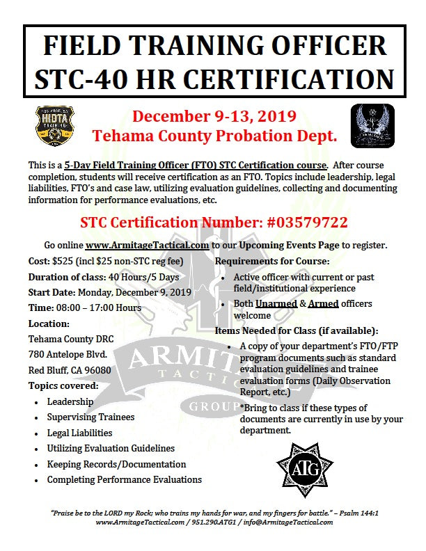 2019/12/09 - Field Training Officer (FTO) STC Certification Course - Red Bluff, CA