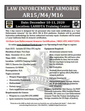 2020/12/10 - Law Enforcement Armorer's Course 2-Day (AR15/M4/M16) - Los Angeles, CA