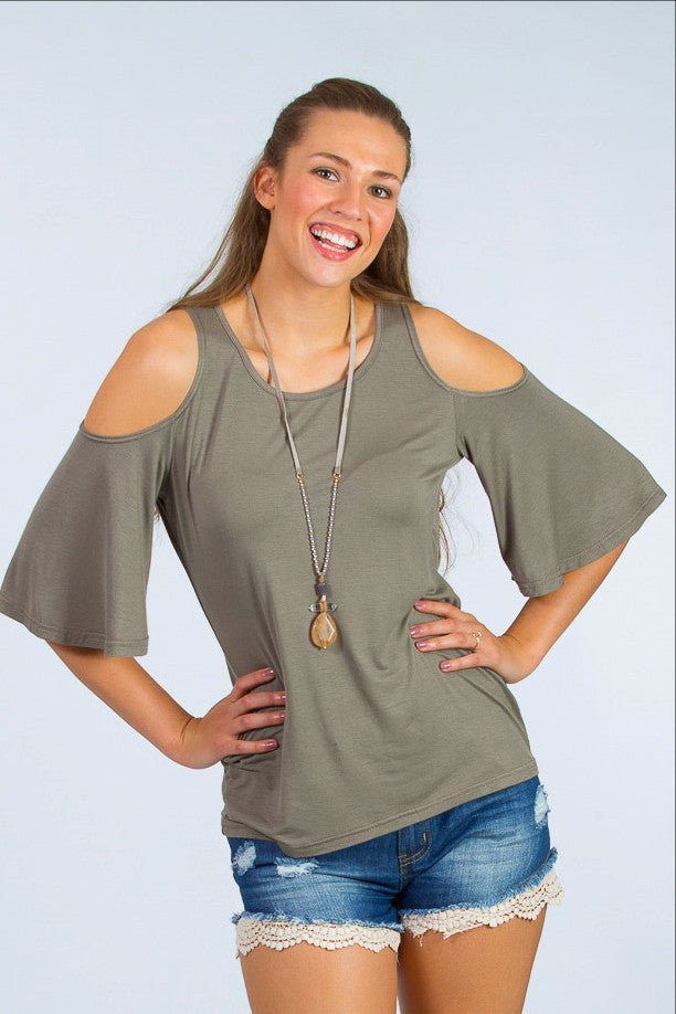 418ee88ca5145b Giving The Cold Shoulder Top - FINAL SALE - Fair Everly Boutique