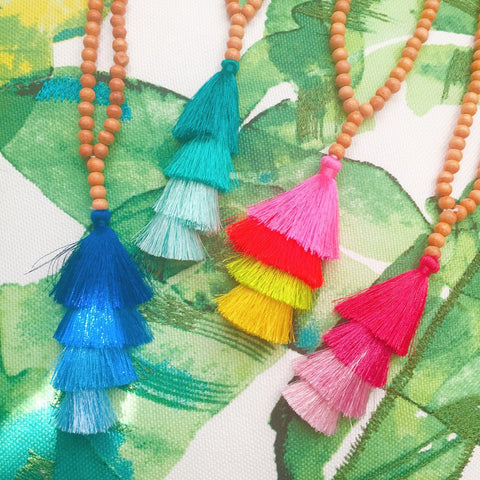 Tiki Bar Handmade Tassel Necklace