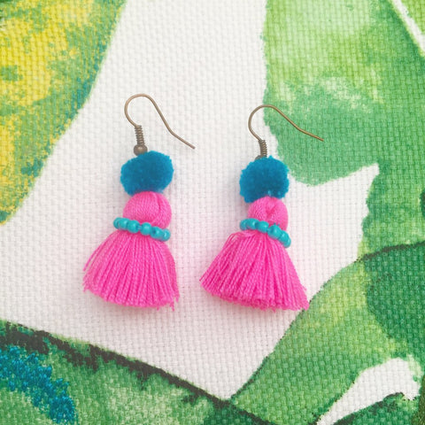 Pompom Mini Tassel Earrings