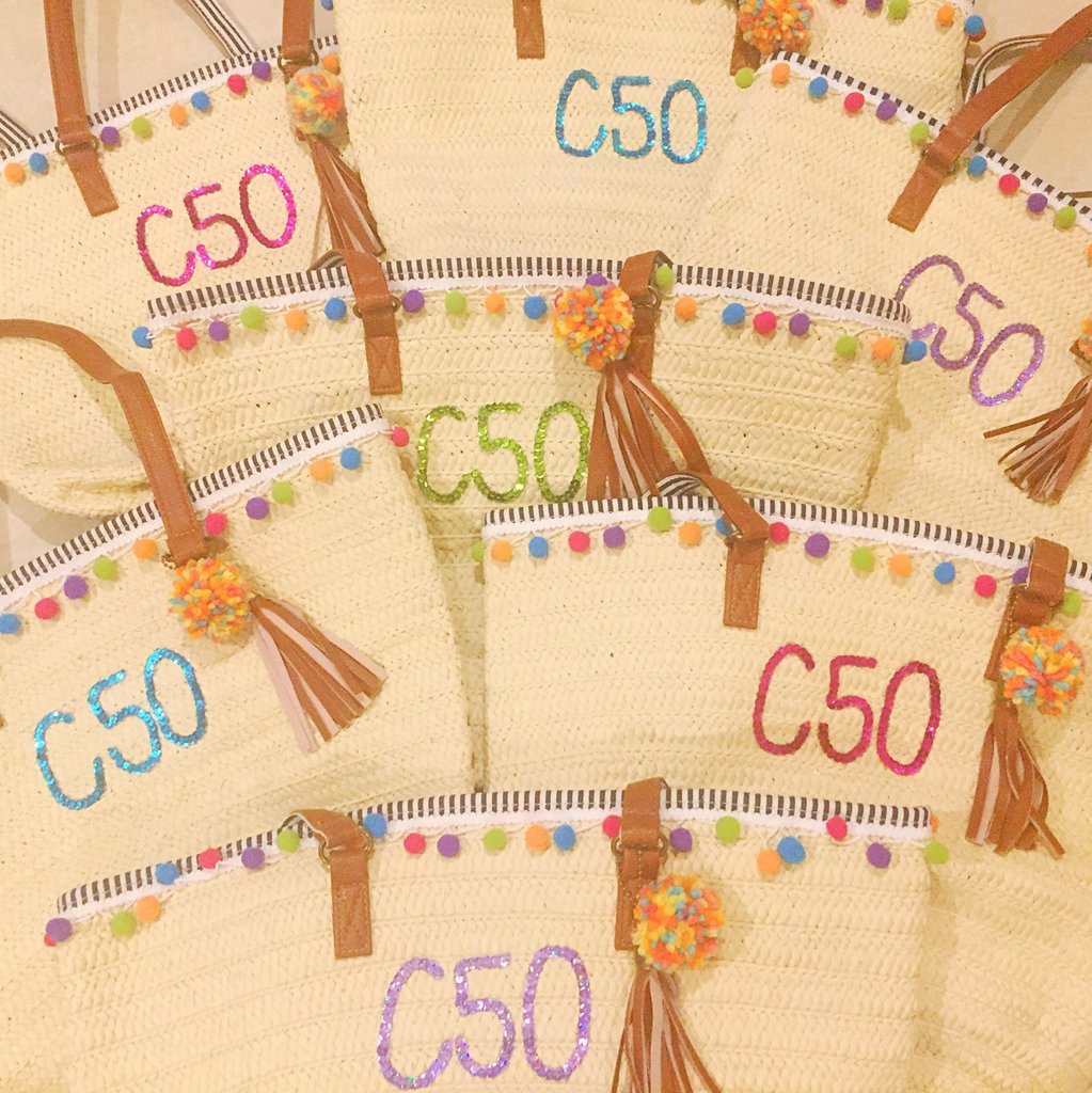 Custom Straw Tote Bag Discount Package- Set of 6