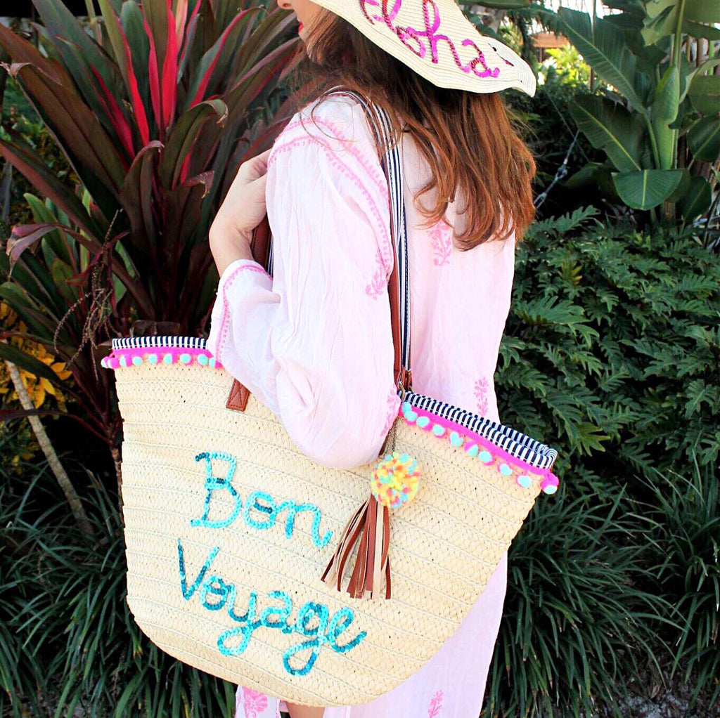 Bon Voyage Woven Beach Tote Bag – Honeymoon Hats c50e1b777e23