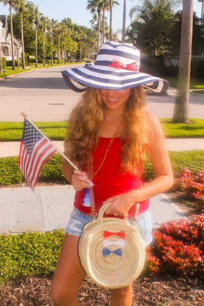USA July 4th Ombré Raffia Bow Round Straw Handwoven Crossbody Bag