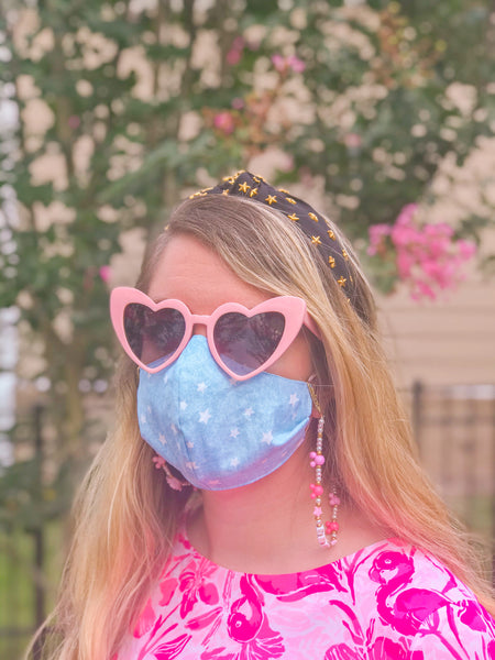 Leopard/Chambray Stars- Non-Medical Fashion Reversible Elastic Face Mask- Women & Teen Size