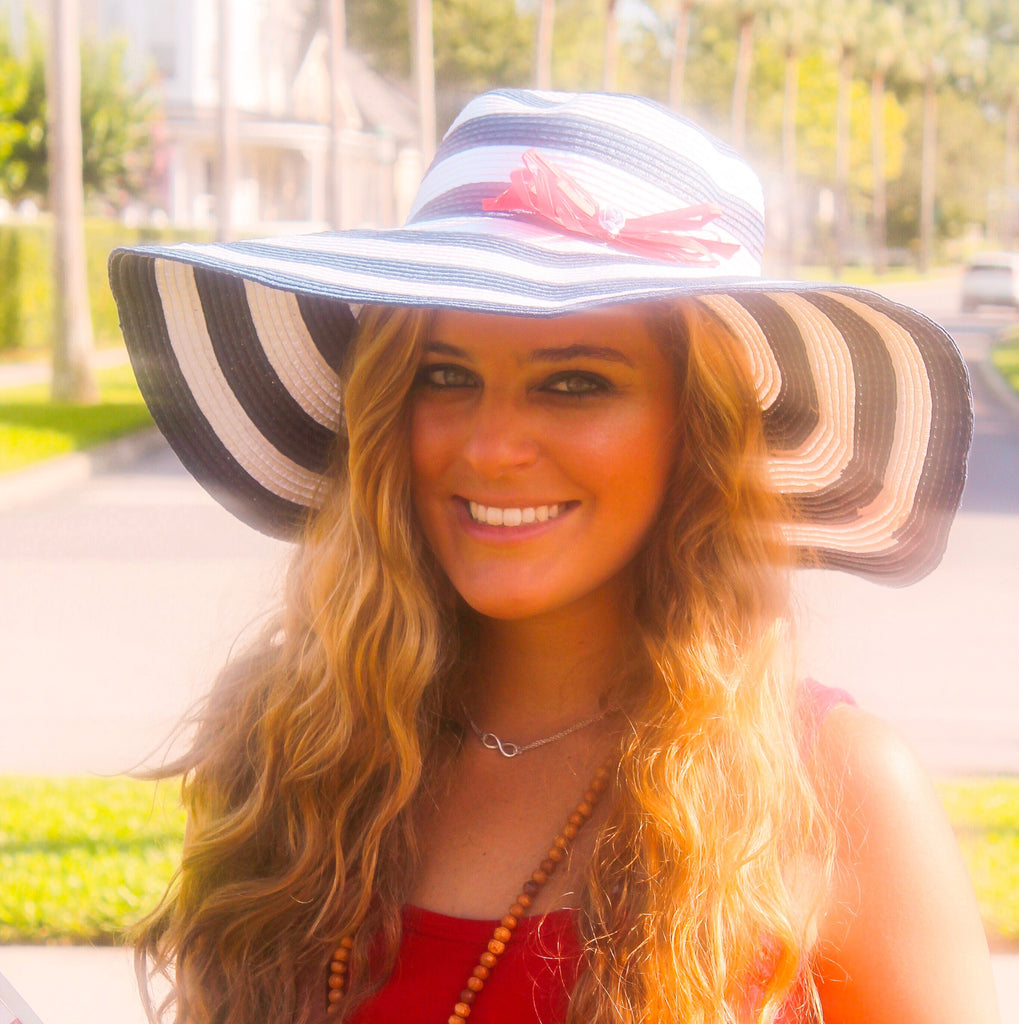 Navy Stripe Raffia Honeymoon Hat™