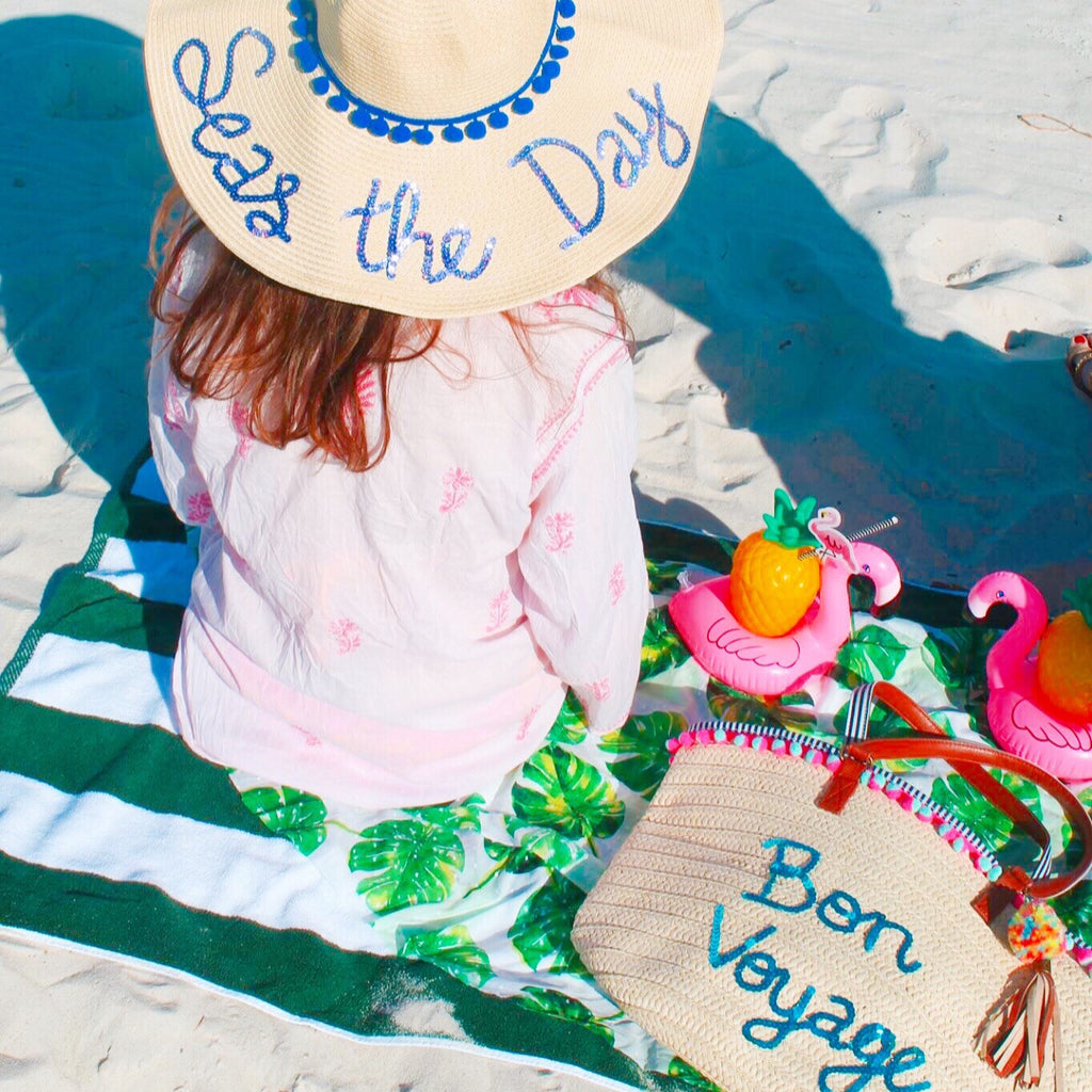 Custom Honeymoon Hat & Personalized Straw Beach Tote Discount Package