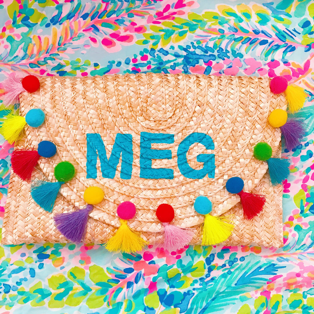 Custom Hand-painted Monogram Straw Clutch Pompom Tassel Bag – Honeymoon Hats 17cb969c6d53