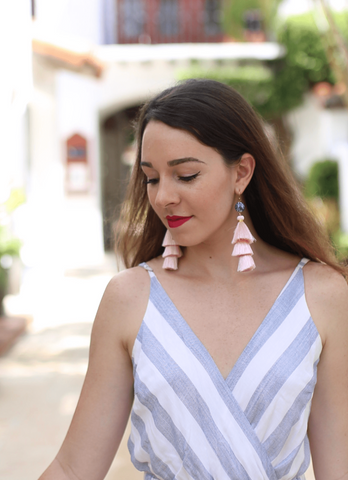 Chinoiserie Tassel Earrings- Millennial Pink