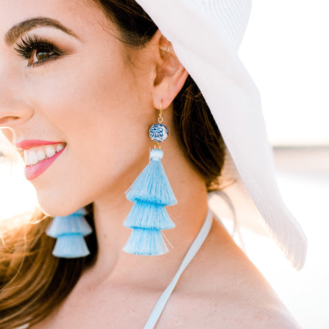 Chinoiserie Tassel Earrings- Sky Blue