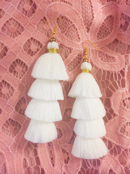 Handmade White Bride Tassel Earrings