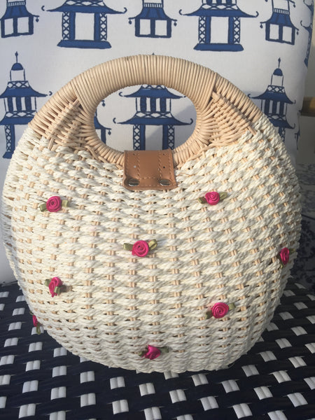 Kentucky Derby Run for the Roses Straw Clutch Bag- EXPRESS SHIPPING