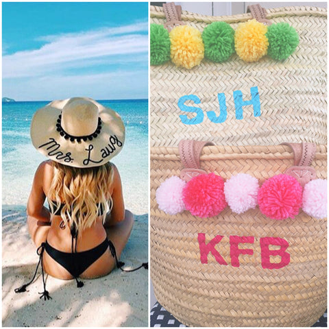Hand Painted Monogram Pompom Straw Beach Bag & Honeymoon Hat Discount Combo