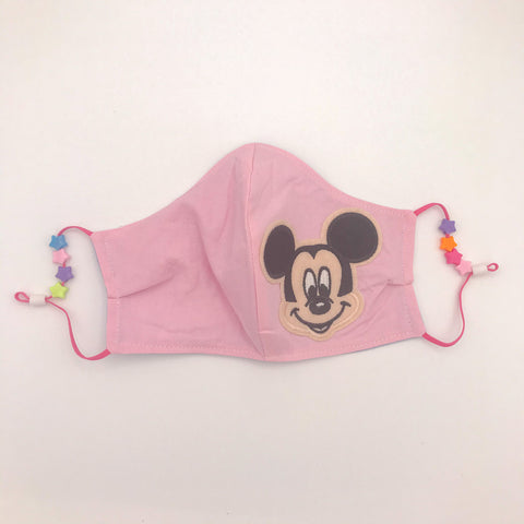 Mickey Patch/Chambray Stars Beaded- Non-Medical Fashion Reversible Elastic Face Mask- Women & Teen Size
