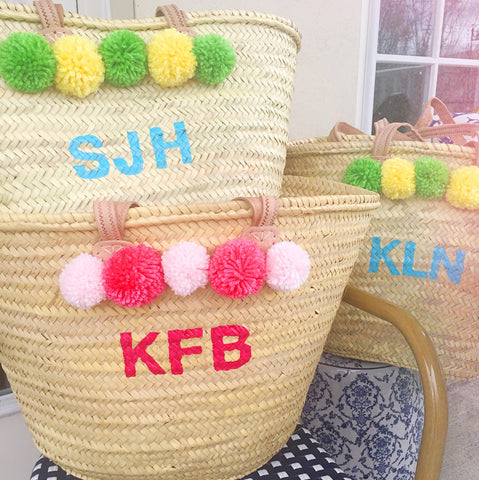 SET of 3-Hand Painted Monogram Pompom Straw Beach Tote Bag