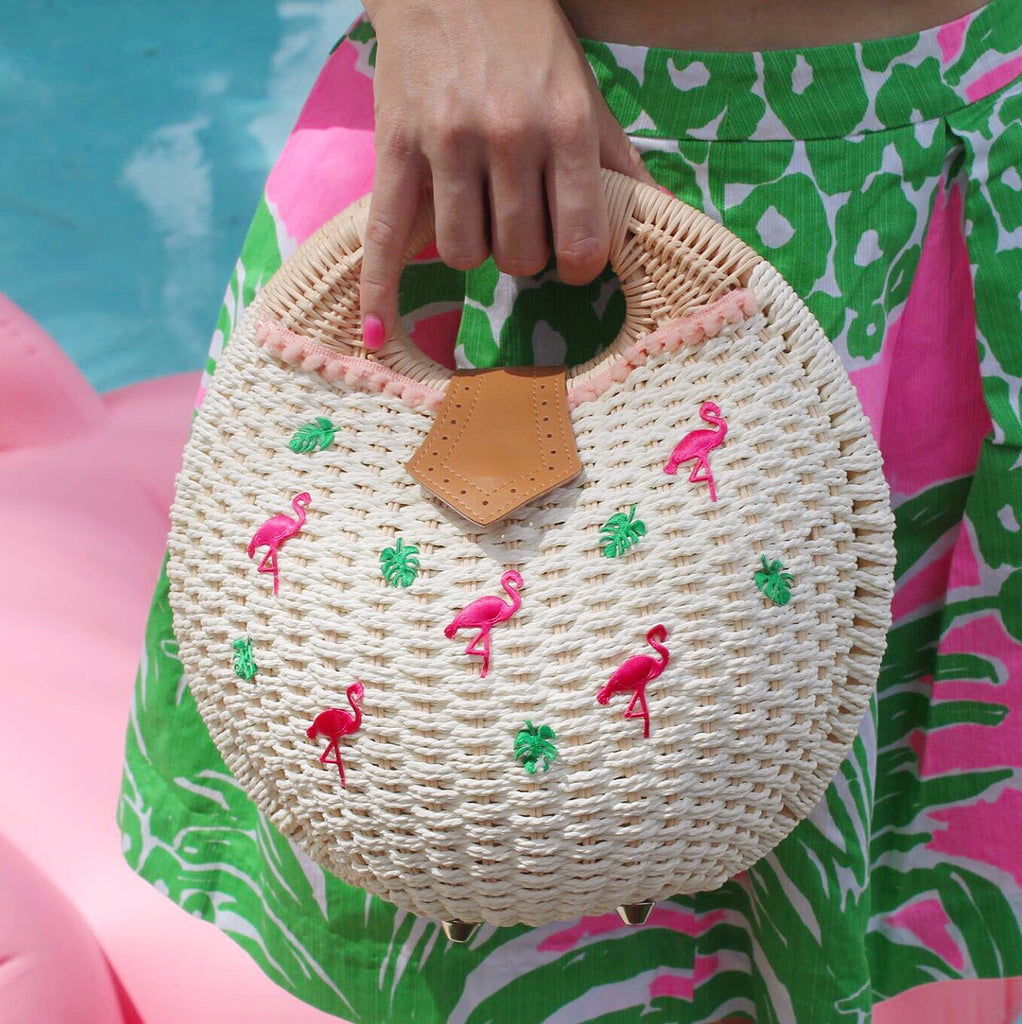 Flamingle Round Straw Clutch Bag