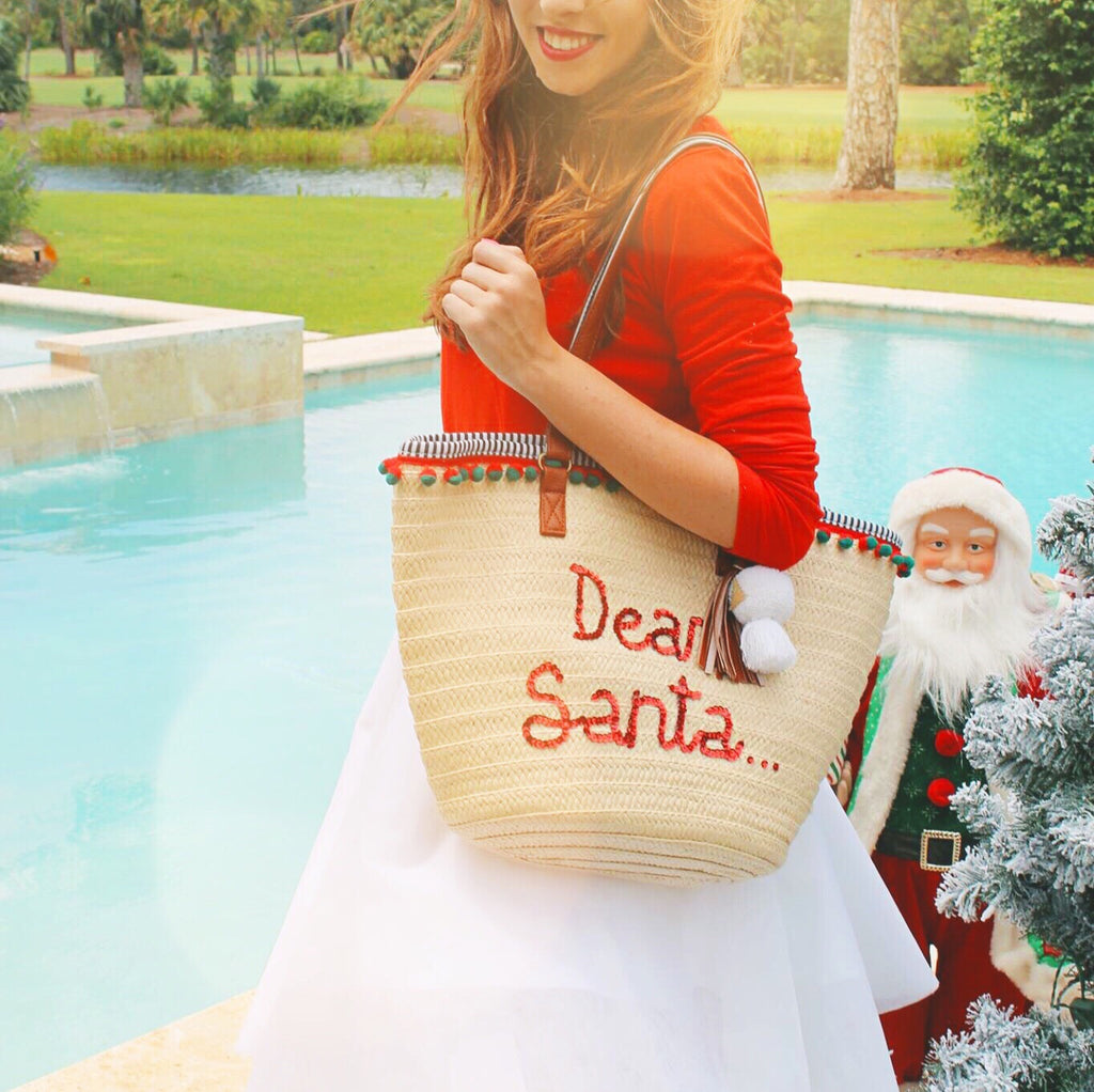 Dear Santa... Woven Christmas Beach Tote Bag – Honeymoon Hats f1ea18f2bb34