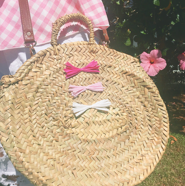 Ombré Raffia Bow Round Straw Crossbody Beach Bag