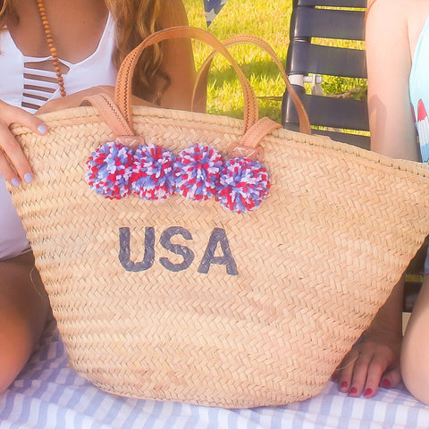 USA Hand-painted Monogram Pompom Straw Beach Bag