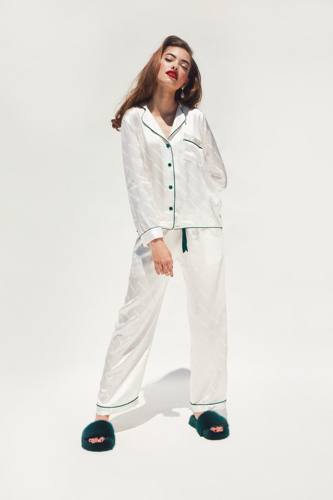 WOMEN'SPEARLSILKJACQUARDPAJAMAS