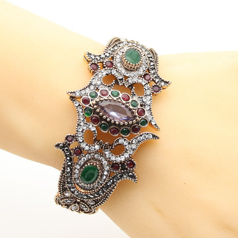 Vintage Turkish Flower Bracelet Bangles Antique Gold Plated Cuff Resin Ethnic Decorative Pattern Jewelry India Bridal Bangles SilkRoads Online