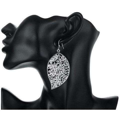 Hot selling earrings high quality fashion jewelry beautiful leaves silver plated - SilkRoads Online