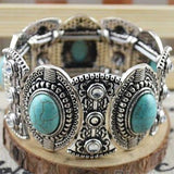 Classical Women's Retro Vintage Natural Turquoise Cute Tibet Silver Bracelet (Out of Stock) - SilkRoads Online