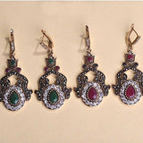 Fine Vintage Turkish Ruby and Emerald Earrings - Free Shipping - SilkRoads Online