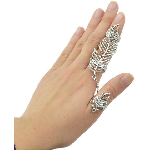 New Rock Style Gold Silver Rhinestone Leaf Double Full Finger Ring With Chain Link - SilkRoads Online
