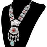 Bohemian Gypsy Necklace With Natural Turquoise Geometric Shape - SilkRoads Online
